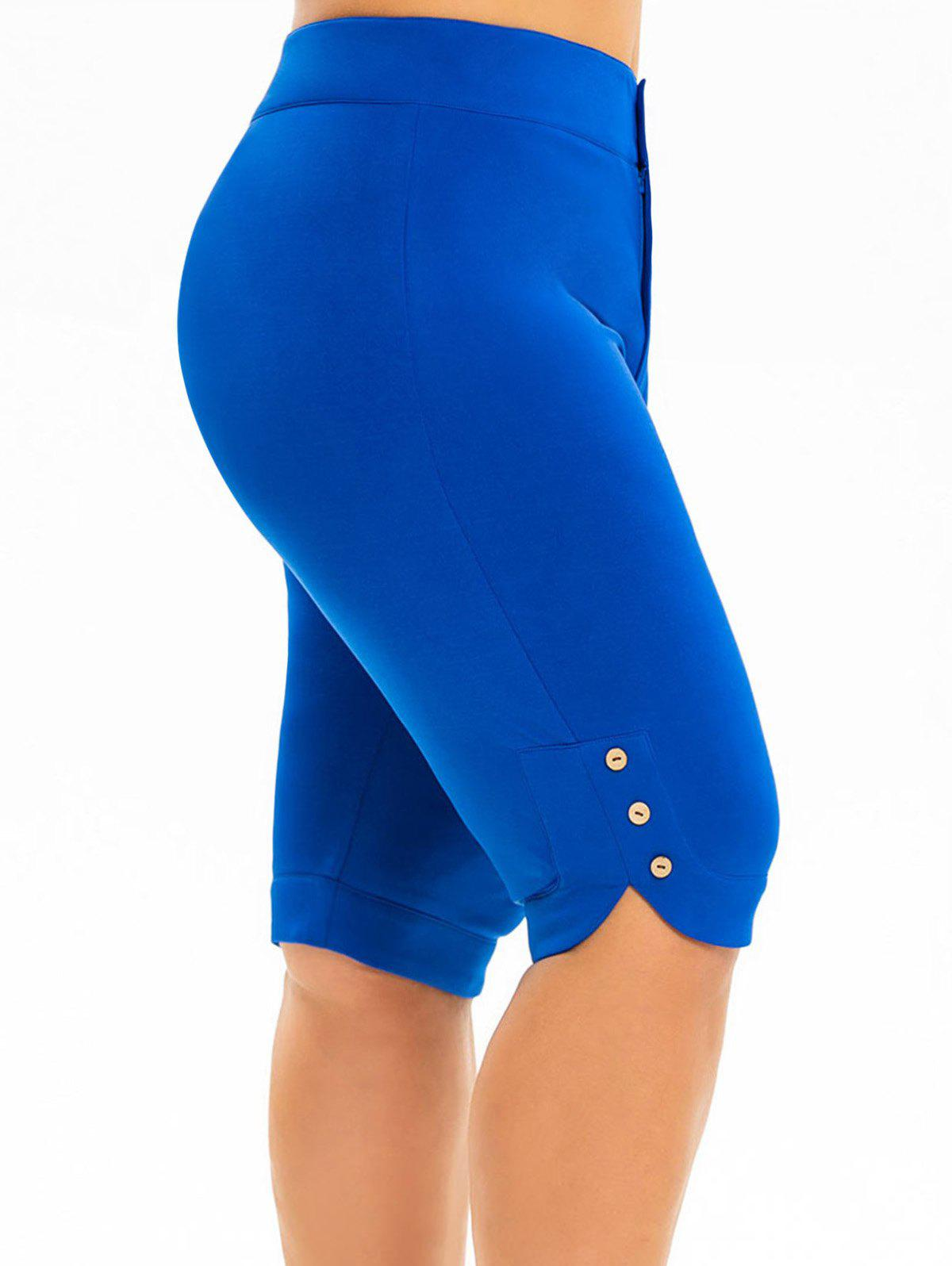 Buy High Waisted Buttoned Knee Length Plus Size Shorts