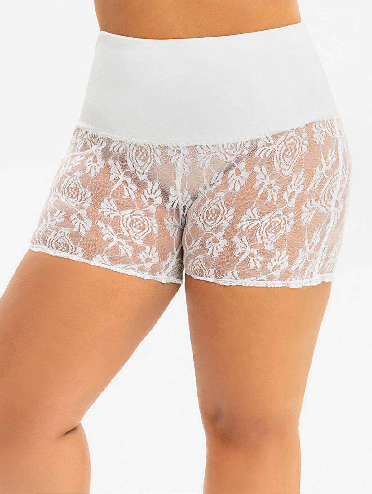 Affordable High Waisted Lace Mini Plus Size Slip Shorts