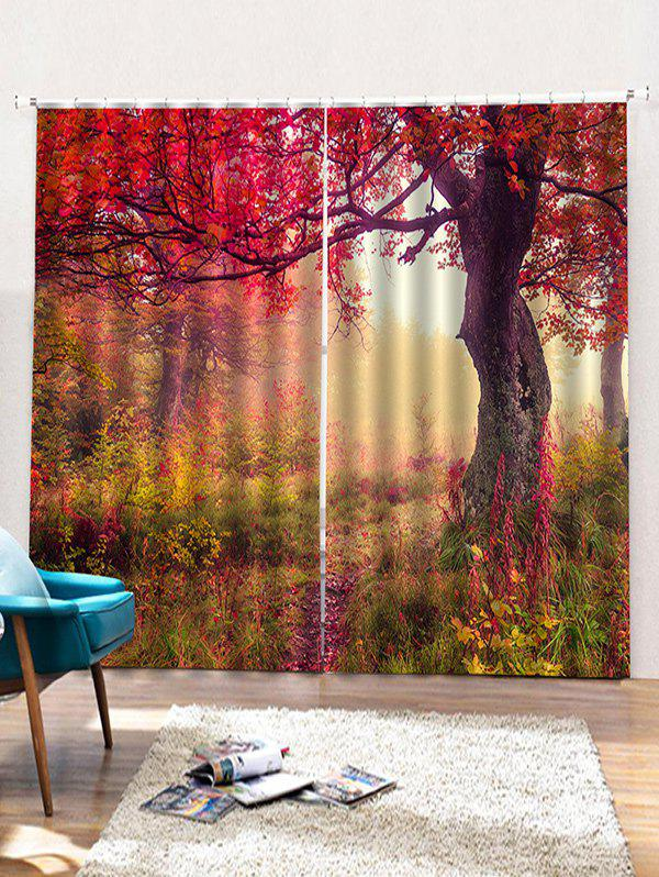 Outfits 2 Panels Maple Tree Trail Print Window Curtains