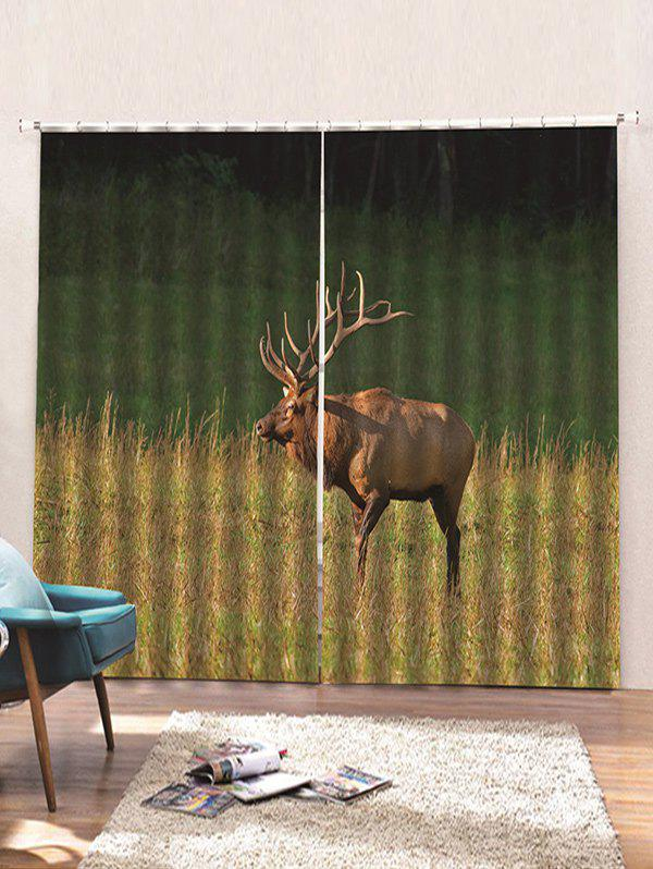 Buy 2 Panels Steppe Elk Print Window Curtains