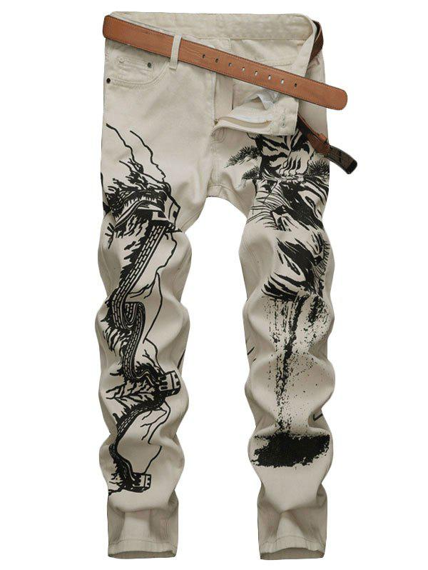 Trendy Ink Painting Zip Fly Casual Jeans