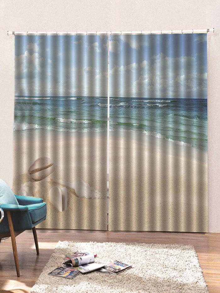 Shops 2 Panels Fine Day Beach Conch Print Window Curtains