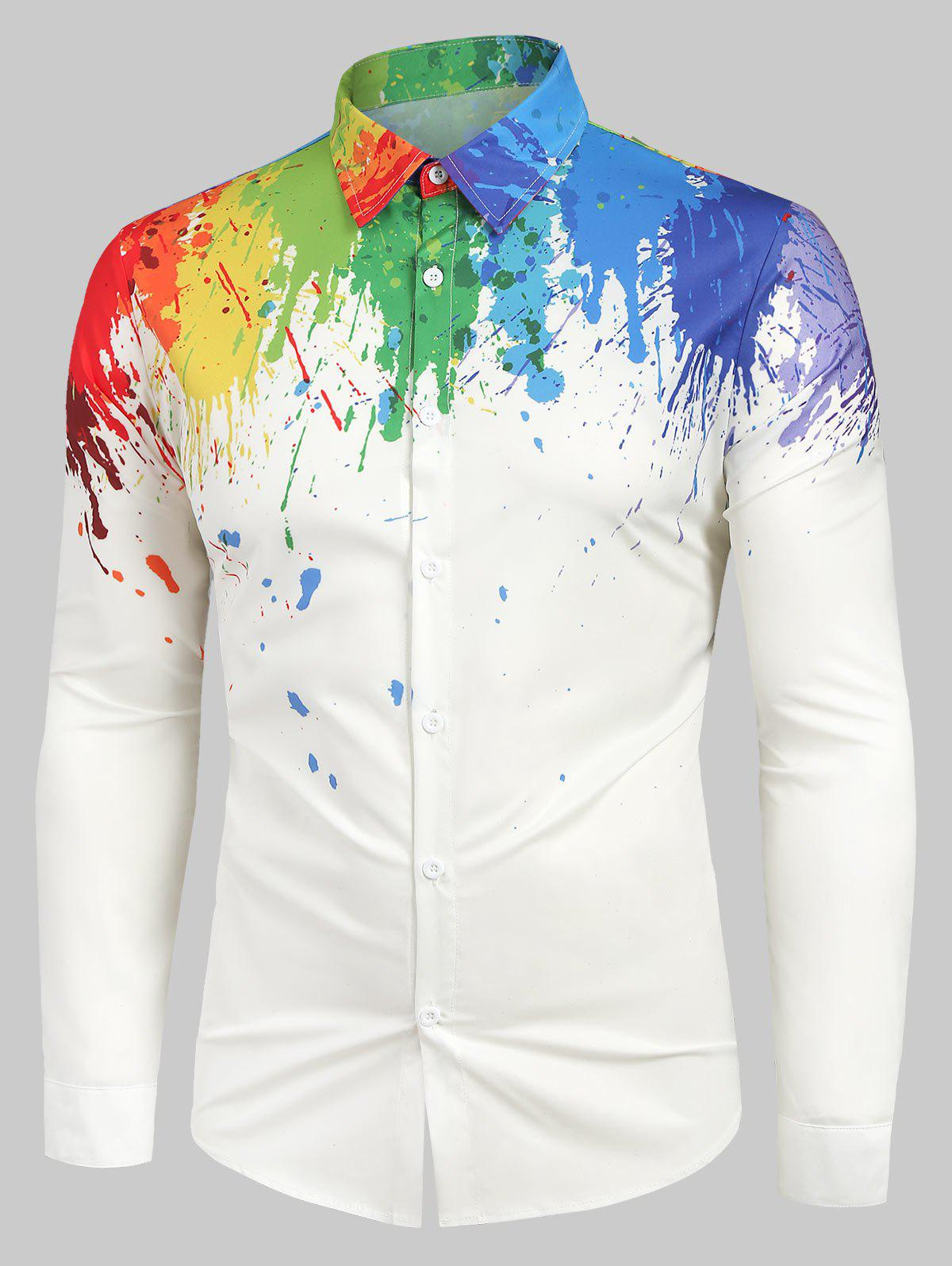 Store Long Sleeves Splatter Painting Print Button Shirt