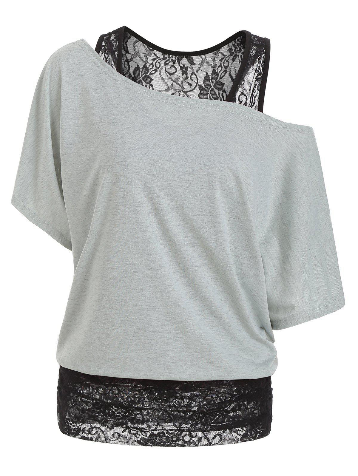 Outfit Scoop Neck Lace Panel Casual Tee