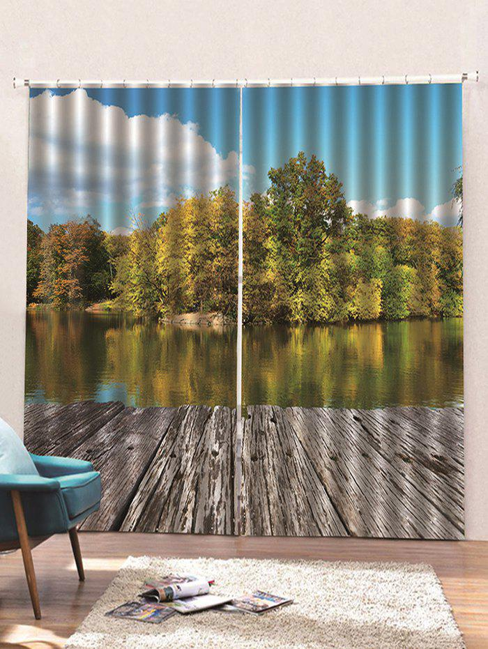 Hot 2 Panels Waterside Forest Print Window Curtains