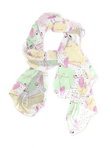 Flamingo Tropical Leaf Printed Long Scarf