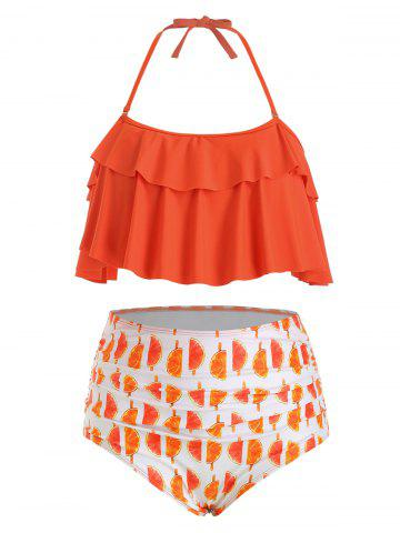 Swimsuit | Halter | Orange | Bikini | Print | Plus | Size