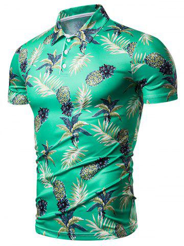 Palm Tree Pineapple Print Shirt Collar T Shirt