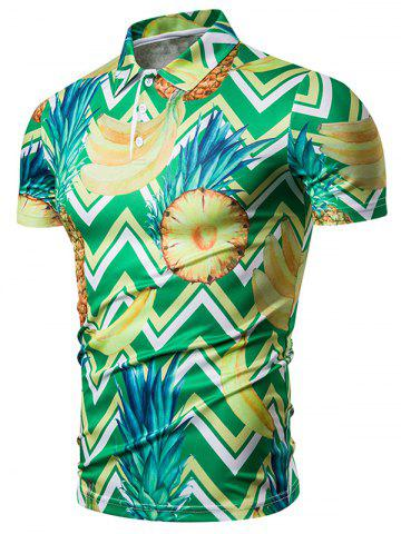 Pineapple Zigzag Print Shirt Collar T Shirt