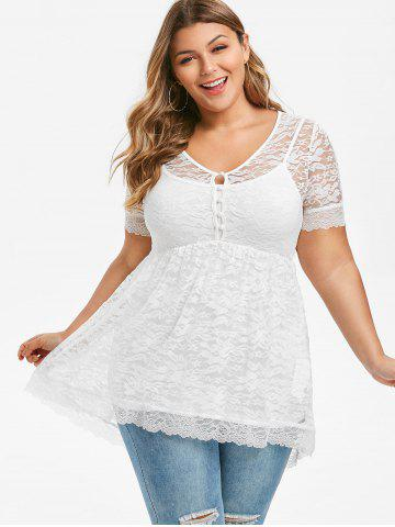 Plus Size Sheer Lace Blouse With Cami Top Set