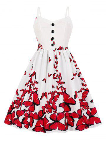 Button Butterfly Print A Line Dress