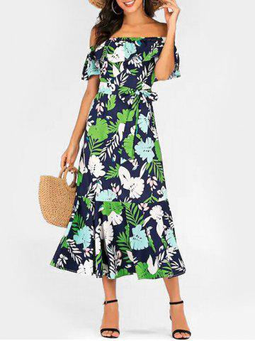 Tropical Leaf Print Belted Off Shoulder Dress