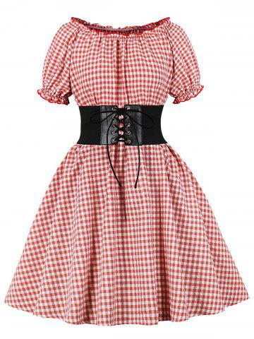Gingham Seersucker Dress with Corset Belt