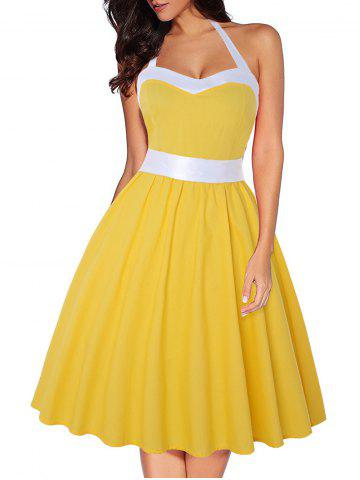 Halter Two Tone Shirred Party Dress