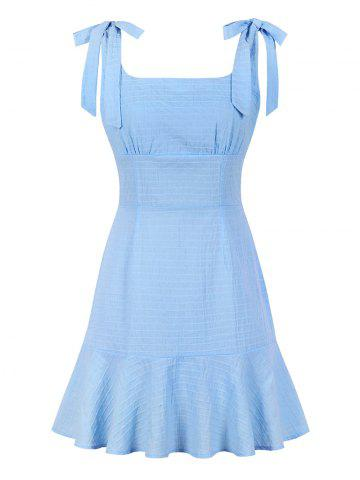 Tie Shoulder Flounce Square Collar Dress