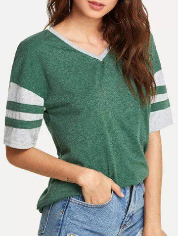 Striped Space Dye Curved Hem T-shirt