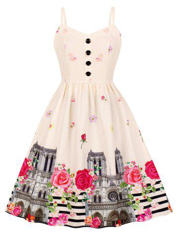 Button Floral Building Print A Line Dress