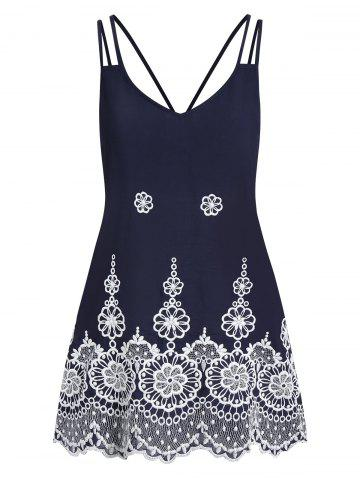 Flower Embroidery Scalloped Straps V Neck Tank Top