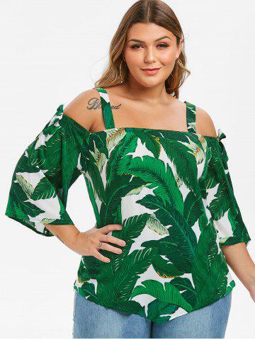 Knotted Leaves Print Cold Shoulder Plus Size Blouse