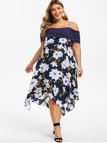 Plus Size Open Shoulder Floral Handkerchief Midi Dress