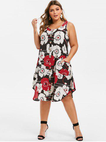 Plus Size Floral Print Swing Dress