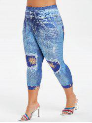Plus Size Sun Moon Print Capri Skinny Jeggings -