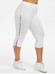 Plus Size Lace Up Capri Leggings -