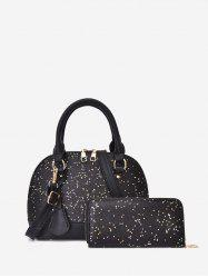 Glitter Two-piece Shell Tote Bag Set -