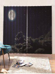 2 Panels Moon Starry Sky and Cloud Print Window Curtains -
