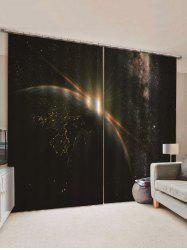 2 Panels Galaxy Planet Print Window Curtains -