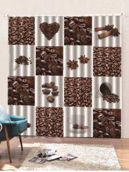 2 Panels Coffee Bean Print Window Curtains -