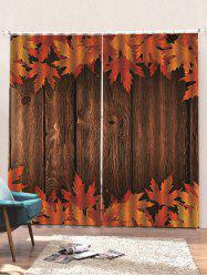 2 Panels Wooden Board Maple Leaves Print Window Curtains -