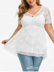Plus Size Sheer Lace Blouse With Cami Top Set -