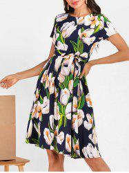 Floral Pleated Detail Knee Length Dress -