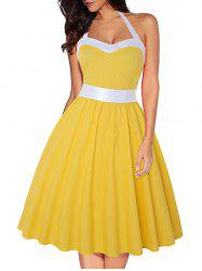 Halter Two Tone Shirred Party Dress -