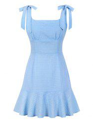 Tie Shoulder Flounce Square Collar Dress -