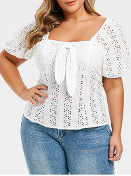 Plus Size Broderie Anglaise Bowknot Milkmaid Top -