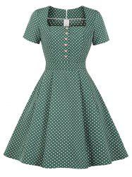 Square Collar Placket Polka Dot Retro Dress -