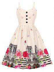 Button Floral Building Print A Line Dress -