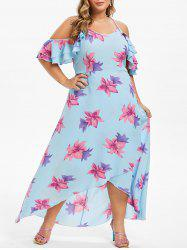Plus Size Floral Ruffle Maxi Asymmetric Dress -
