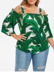 Knotted Leaves Print Cold Shoulder Plus Size Blouse -