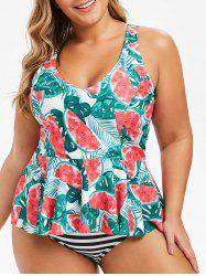 Plus Size Watermelon Palm Leaf Striped Peplum Tankini Swimsuit -