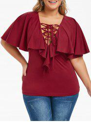Plus Size Low Cut Ruffled Lace Up Tee -