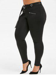 Plus Size High Rise O Ring Pants -