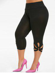 Capri Metal Ring Cut Out Plus Size Leggings -