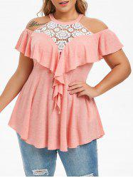Plus Size Lace Panel Ruffle Open Shoulder T-shirt -