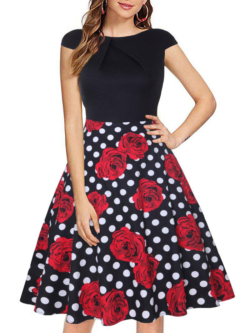 Online Polka Dot Floral Cap Sleeve Fit and Flare Dress