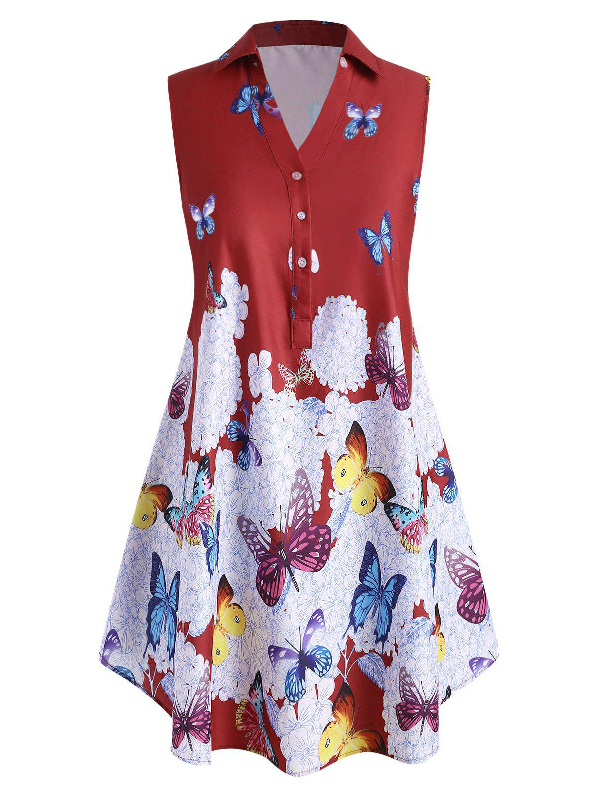Affordable Plus Size Sleeveless Butterfly Print Graphic Blouse