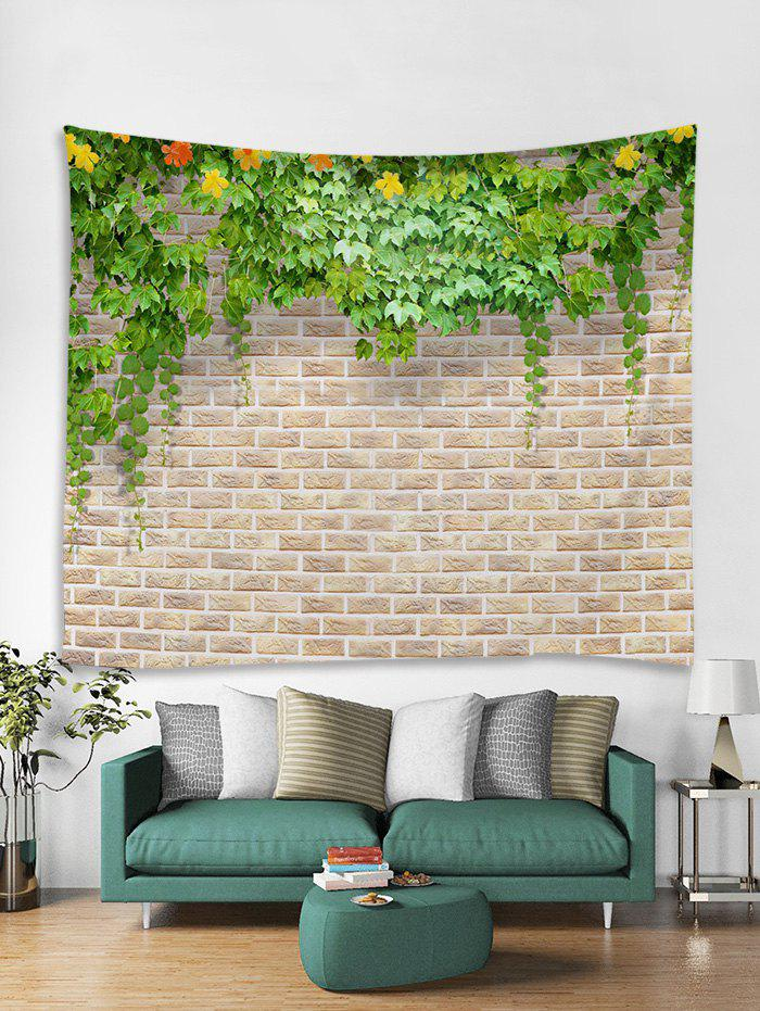 Discount Leaf Brick Wall 3D Print Home Tapestry