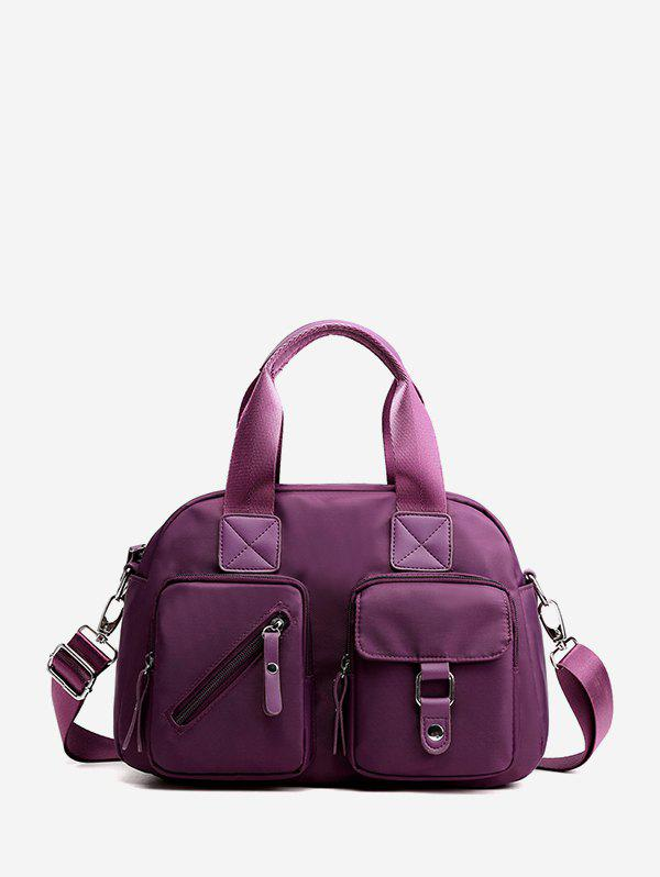 Fancy Nylon Solid Pockets Handbag